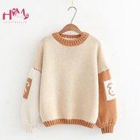 Winter Women's Cartoon Lantern Sleeve Sweater Cute Rabbit Loose Teen Girl Knitted Pullovers Tops Kawaii Loose Female Sweater