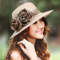 2015 leopard lace bow panama travel straw hat female Korean summer sunscreen UV wide brim beach large sun hat for women D3471