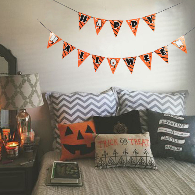 Spooky Halloween Banner Orange And Black Happy Halloween Pennant
