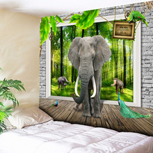 3D Elephant Wall Tapestry Hanging Hippie Tapestry Blanket Green Forest Sunlight Home Decor Wooden Floor Boho Decor Wall Cloth home decor elephant print wall hanging tapestry