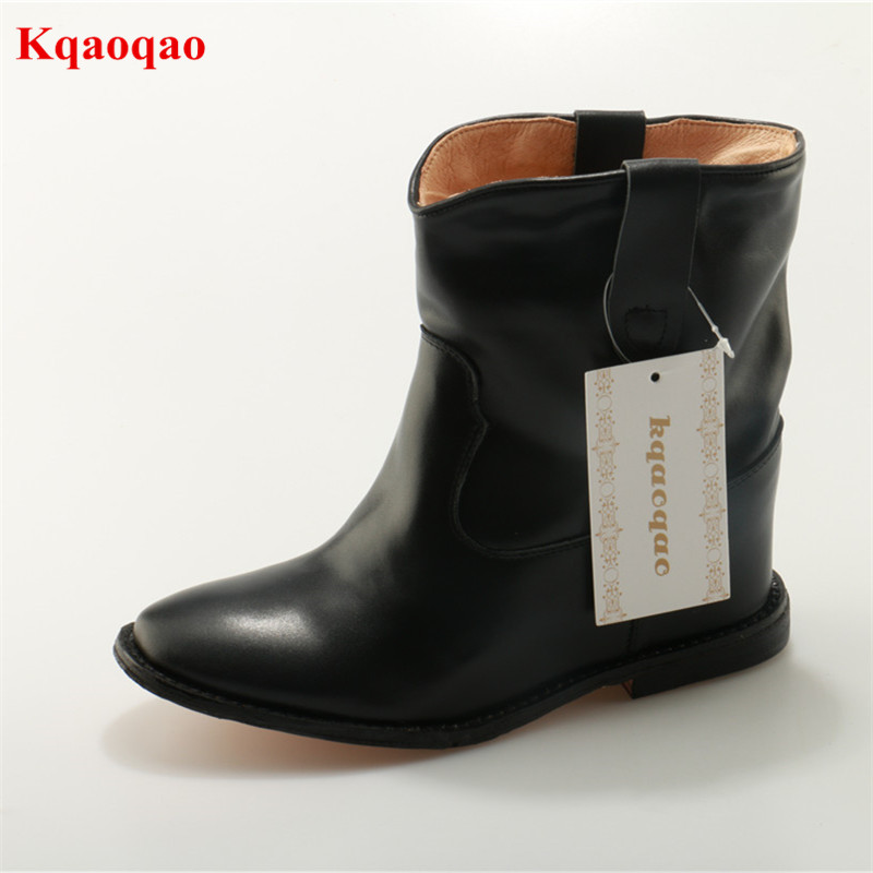 Black Pointed Toe Slip On Casual Boots Buckle Design Solid Platform Rain Boots Luxury Brand Botas Femeninas Sexy Concise Boots