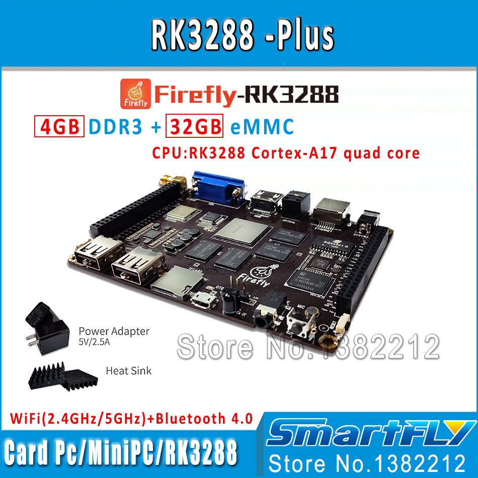 Firefly RK3288 Plus Quad Core ARM Cortex-A17 Development Board 4G DDR+32G eMMC 4K 5GWifi android+linux Dual os demo board