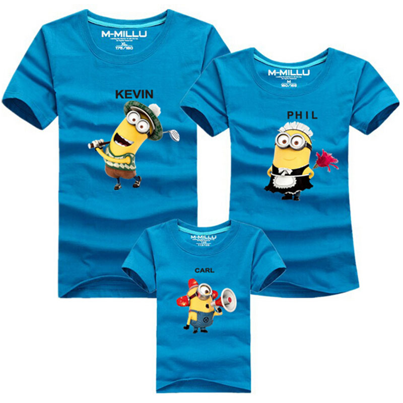 dd342e4c Minion Despicable Me T shirts Boys Clothing Family Matching Outfits Mother  Father Daughter Son Top Tees 90% Cotton T shirt Kids