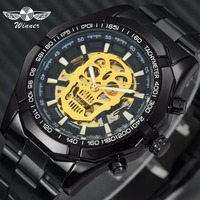 WINNER Men Watches Top Brand Luxury Auto Mechanical Steampunk Watch Stainless Steel Strap Hip Pop Skull Skeleton Dial Wristwatch