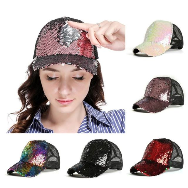 Womens Unisex Messy Bun Ponytail Baseball  Tennis   Cap Reversible Magic Glitter Sequins Contrast Color Mesh Back Adjustable  1