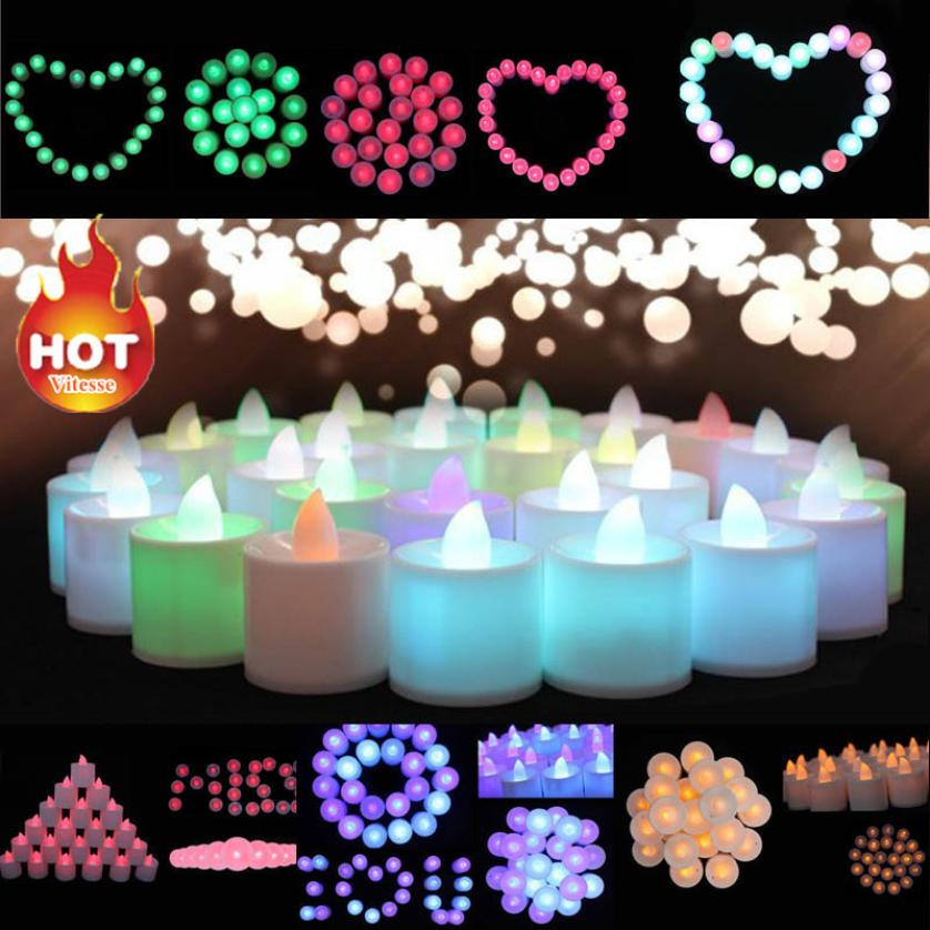 1PC Mini Colorful Romantic Electronic LED Candle Light For Party Wedding Candels Safety Home Decoration Hot Sale 50p