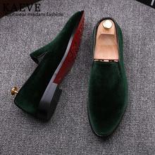 2016 Vintage Velvet Men Casual Shoe Summer Green Loafers Breathable Flats Slippers Mocassins Red Bottoms Men Shoe Zapatos Hombr