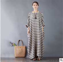 Striped retro art ultra - loose large size dress