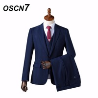 OSCN7 Wool Retro gentleman style custom made Men's suits tailor suit Blazer suits for men 3 piece (Jacket+Pants+Vest) ZM 563