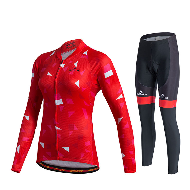 Women's Long Cycling Clothing Mountain Bike Kit Reflective Cycle Jersey &  Bicycle Padded Pants Set Red 2017 MTB Maillot women s long cycling clothing mountain bike kit reflective cycle jersey