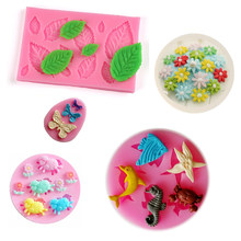 3D Flower Silicone Molds Fondant Craft Cake Candy Chocolate Sugarcraft Ice Pastry Baking Tool Mould Digital alphabet animals(China)