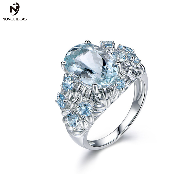 Novel ideas fashion 925 Sterling Silver Women Cocktail Ring Hollow Out Square Cut Created Aquamarine Ring Can wholesale