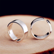 HEYLUOKE Korean Japan fashion bright glossy smooth adjustable ring punk 925 sterling silver rings for women ladies girls TYR0209