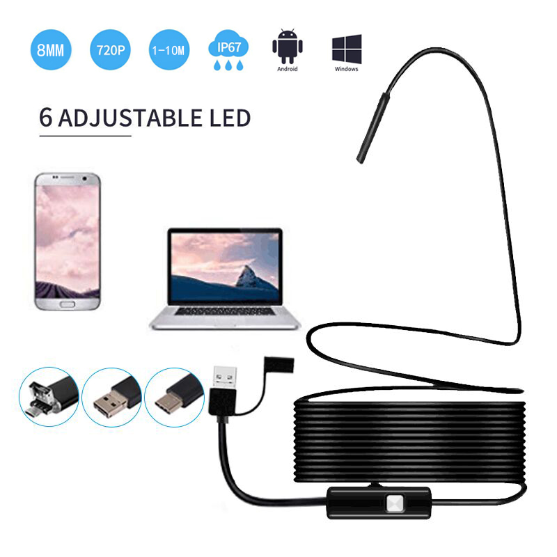 3 in 1 USB Borescope 720P HD with 8mm Waterproof Snake Camera with 6 Adjustable Led for Android Smart Phone, Tablet, PC &MacBook hd pc camera free drive with a phone