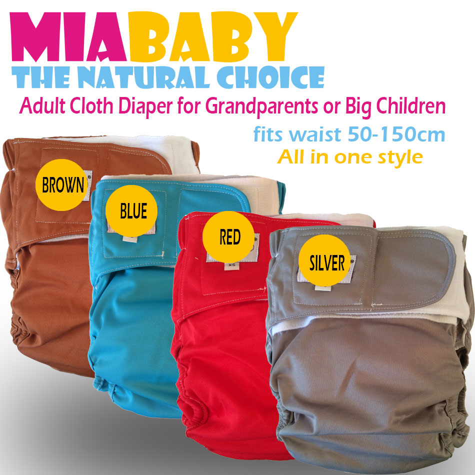 WHOLESALE Miababy Big AIO Cloth Diaper for Children or Grandparents! with a sewn insert and double leaking guards,high absobency
