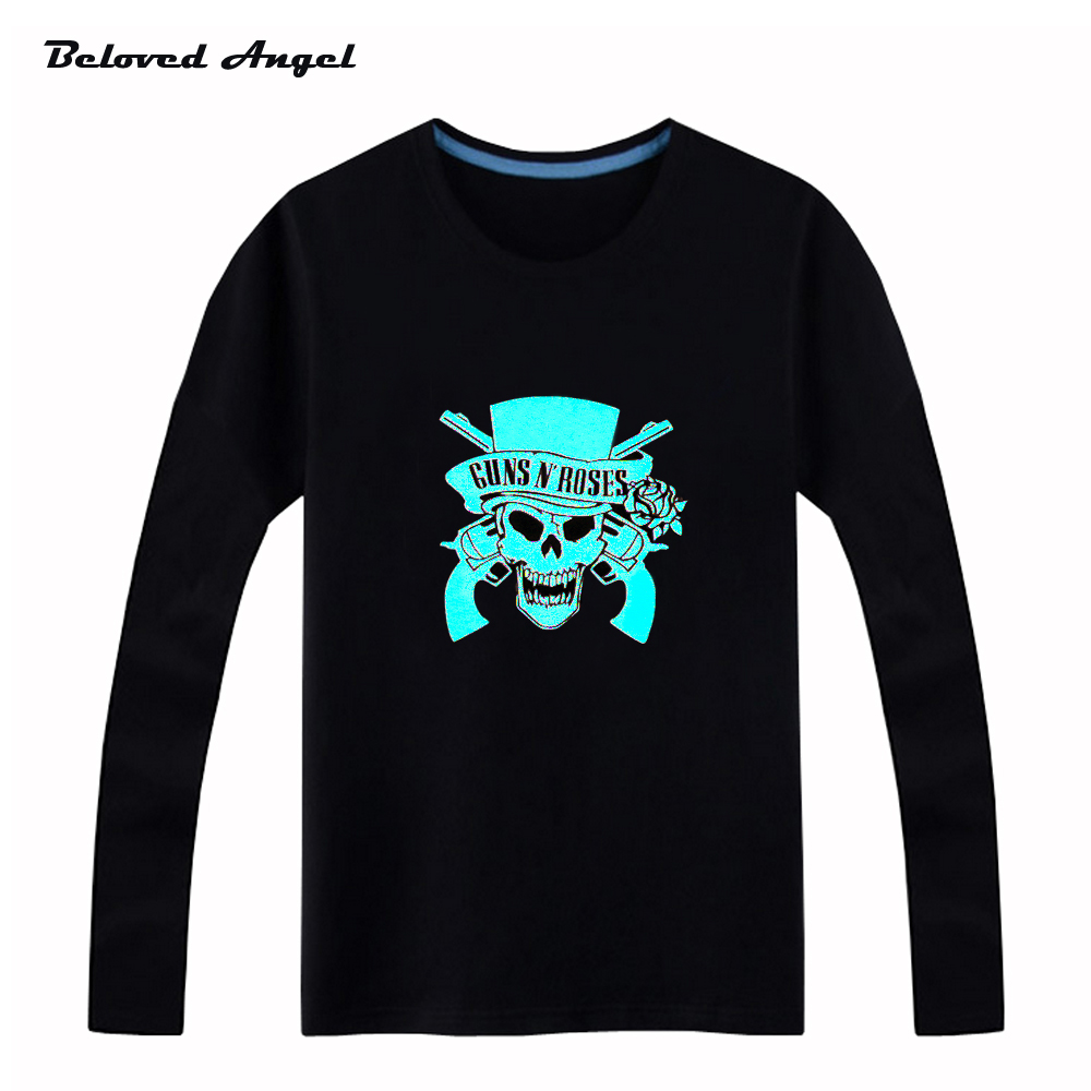 Beloved Angel New Design 100% Cotton <font><b>Boys</b></font> Girls T Shirt Kids Long Sleeves Tops Neon Print Shine <font><b>Blu-ray</b></font> Children Tees