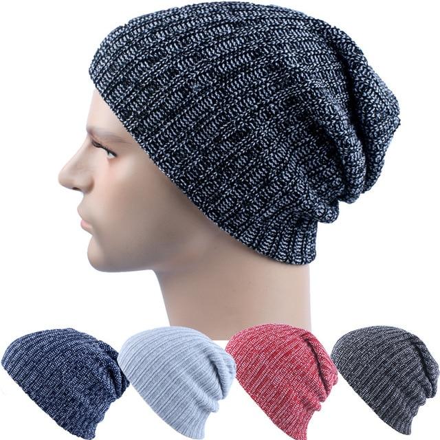 Invierno casual knit sombreros gorros para hombres baggy Beanie hat ...