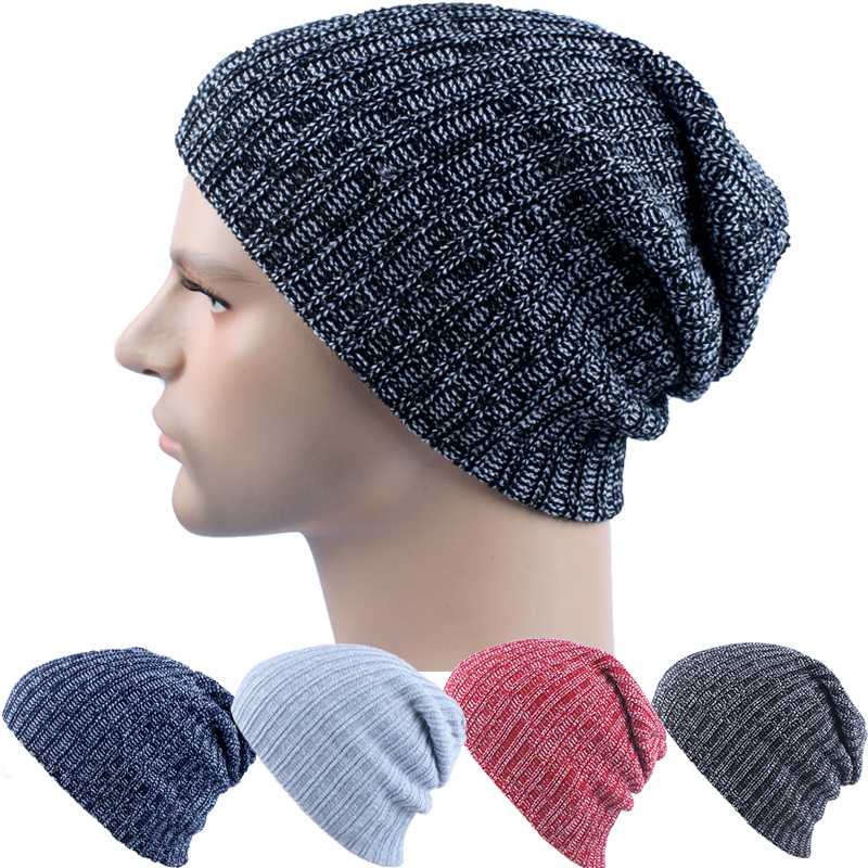 d21a58bcd Winter Casual Knit Hats Beanies For Men Baggy Beanie Hat Crochet ...