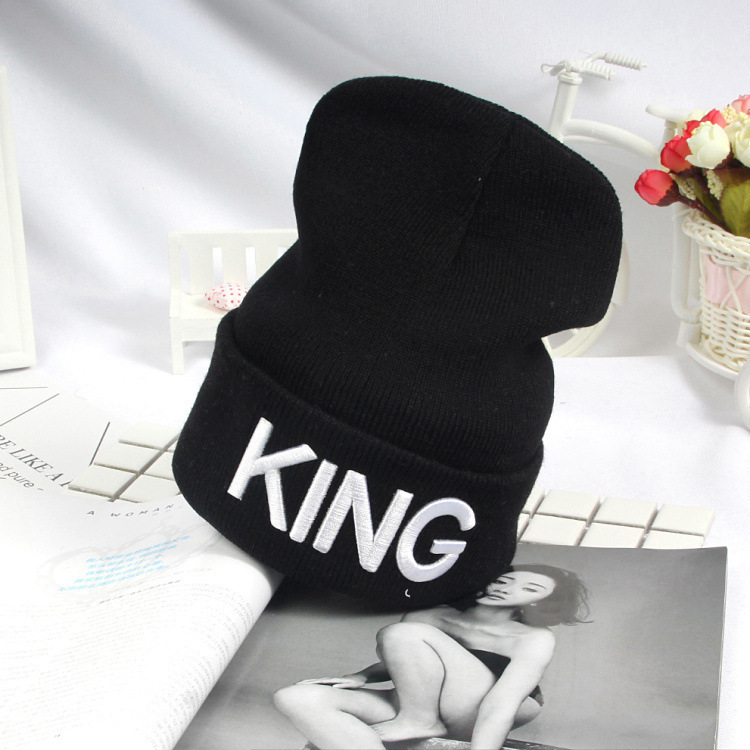 Beanies Cap KING QUEEN Letter Embroidery Warm Winter Hat Knitted Cap Hip Hop Men Women Lovers Street Dance Bonnet Skullies Black 20