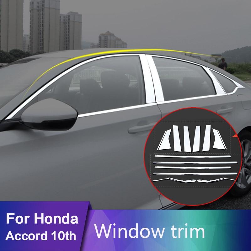 For Honda Accord 10th 2018 2019 12pcs/set Door Window Sill Pillar Post Cover Trim Garnish