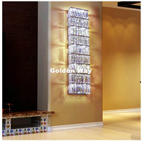 Free Shipping Crystal Wall Lamp L80cm Living Room Chrome Color Wall Lighting Lobby Modern Style High grade Crystal Wall Sconces