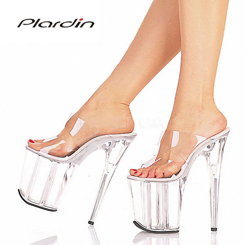 Plardin Summer Plus Size 35-46 Sexy Transparent Concise Fashion 20CM High Heels 10CM Platform Nightclub High Heel Sandals PumpsPlardin Summer Plus Size 35-46 Sexy Transparent Concise Fashion 20CM High Heels 10CM Platform Nightclub High Heel Sandals Pumps