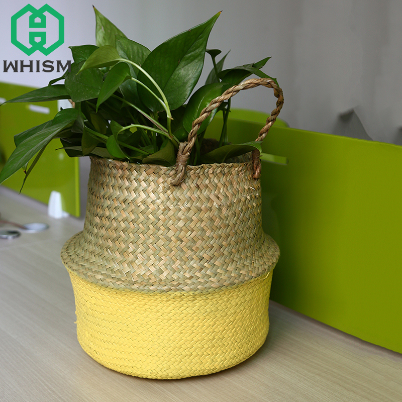 WHISM Handmade Wicker Storage Basket Flower Pot Folding Flowerpot Hanging Baskets Garden Pot Planter Home Storage Organization