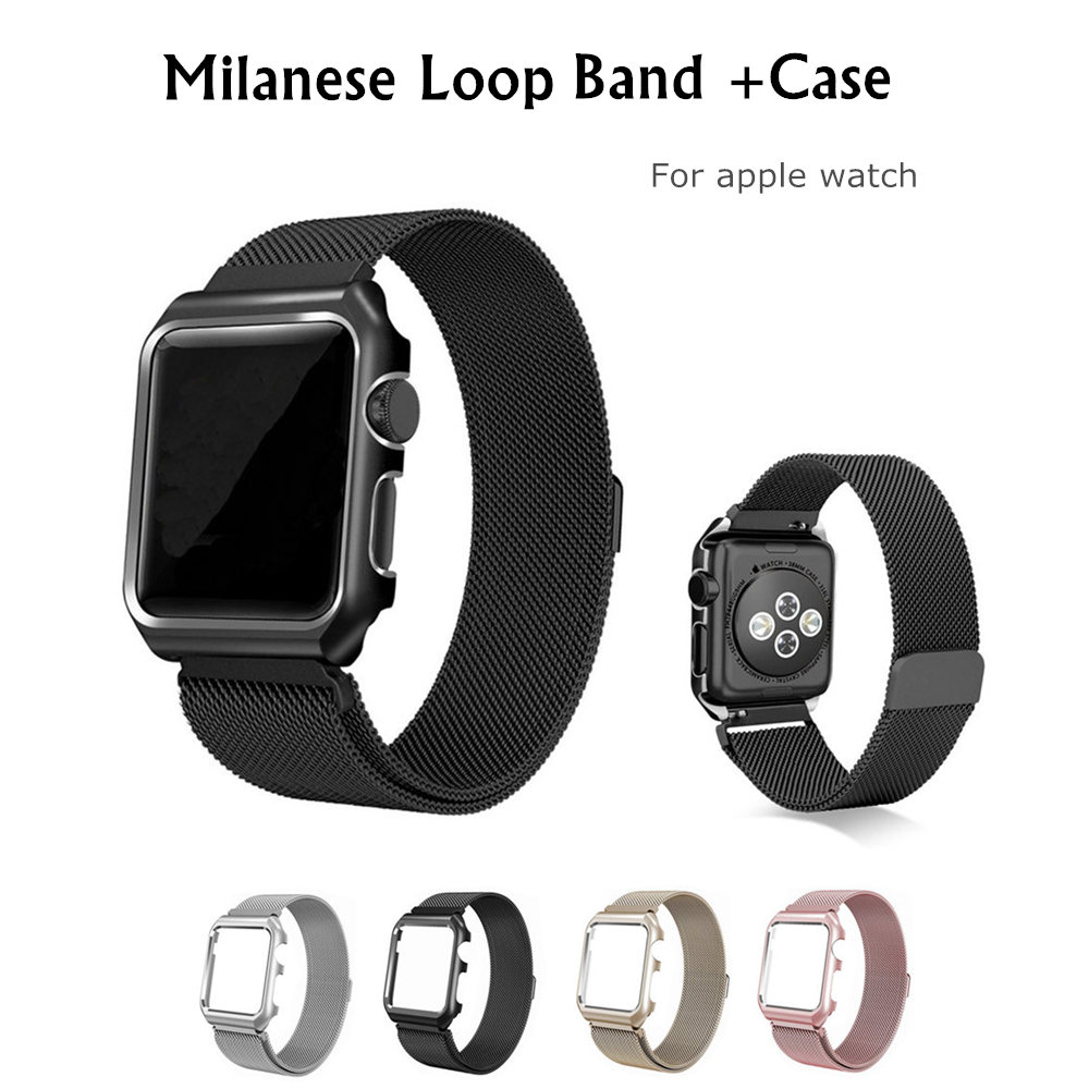 Milanese Loop Strap+Case For Apple Watch band 42/38mm Bracelet wrist belt metal Stainless Steel watchband for iwatch 3/2/1 все цены