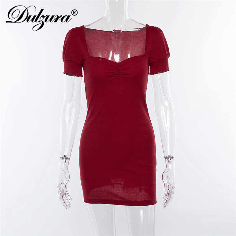 Dulzura/2019 весенне-летние женские платья, Красное Облегающее мини-платье для вечеринки, праздничное платье с v-образным вырезом, пикантная элегантная одежда для смокинга, уличная одежда