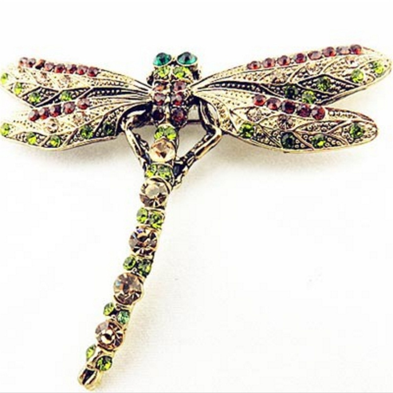 2018 New Fashion Sommer Smykker Tilbehør Brosje For Jente Vintage Lovely Dragonfly Crystal Scarf Lapel Pin Brosjer For Kvinner