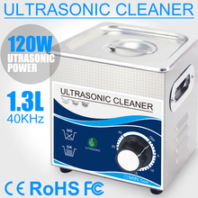 1.3L Ultrasonic Cleaner 120W 60W Transducer Stainless Steel Bath 110V/220V Home Use Ultrasonic Cleaning Machine for Small Parts