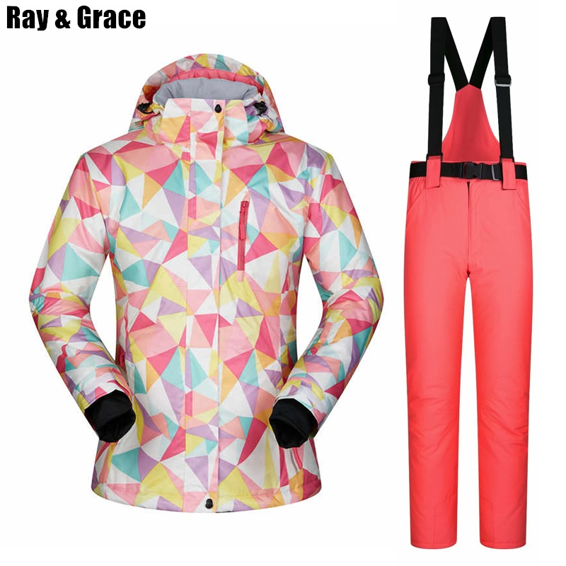 bebe4b8014 RAY GRACE Snow Jacket and Pants Set Women s Winter Ski Suit Waterproof  Windproof Thermal Sports Outdoor