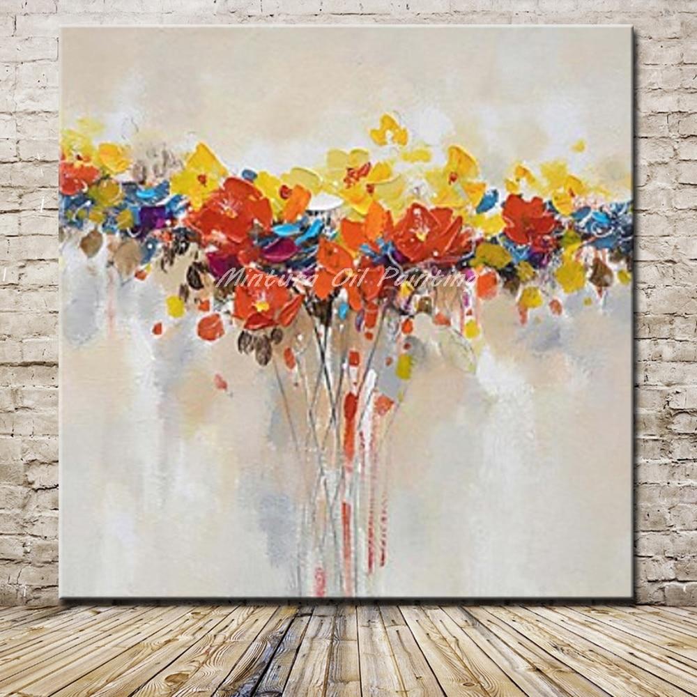 Mintura schilderijen handgeschilderde paletmes bloemen olieverfschilderij muur foto woonkamer - Foto decoratie ...