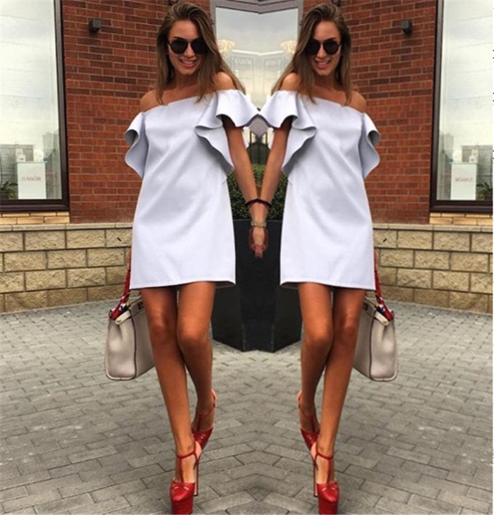 Robe Sale Polyester Brief Straight Solid Short Ruffles Office Dress 2017 Summer New Dress Simple Word Collar Lotus Leaf Lady