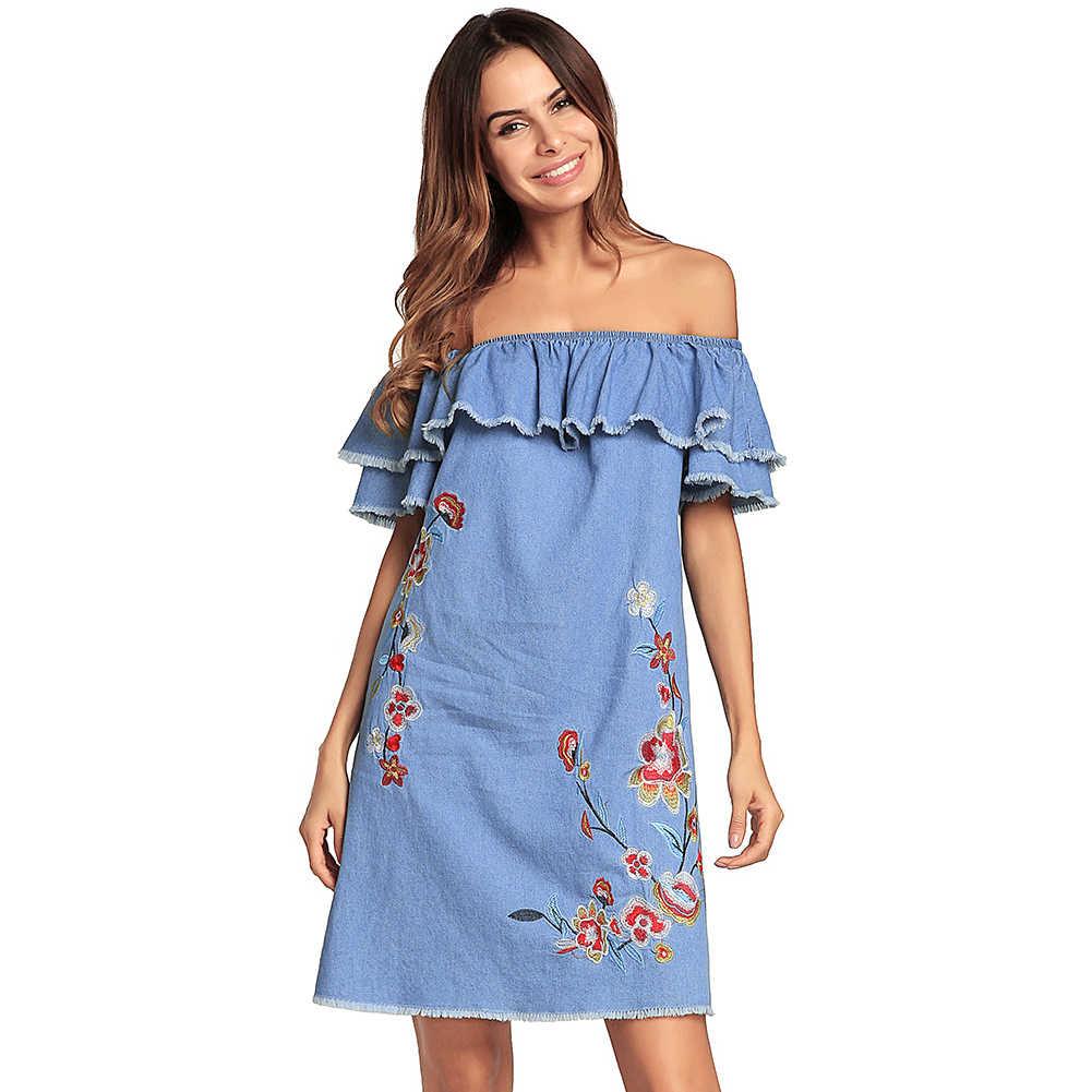 Женское джинсовое платье с открытыми плечами вышивка с рюшами джинсовое платье повседневное с вырезом лодочкой без рукавов элегантное женское платье мини платье для девочек 2019