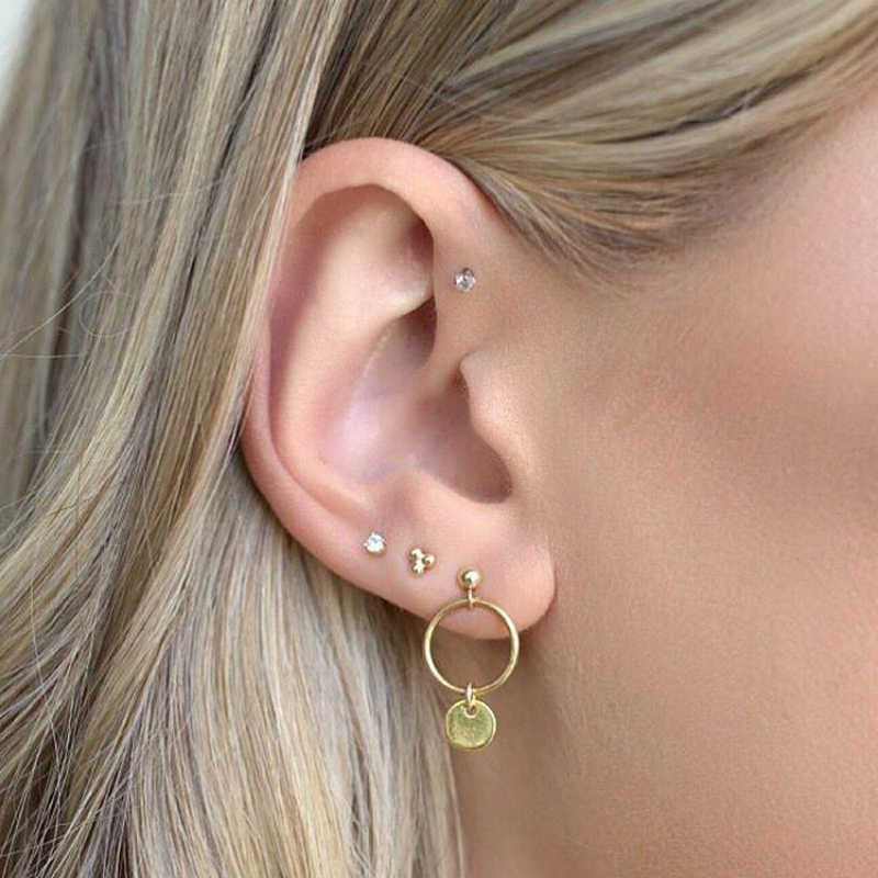 4pcs/set Simple Style Trendy Gold Color Geometric small round Earrings For Women Fashion Metal personality Drop Earrings Jewelry