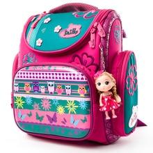 Delune Brand Orthopedic School Bag Bear Pattern Children Backpacks For Girls Boys Cartoon Backpack Book Mochila Escolar
