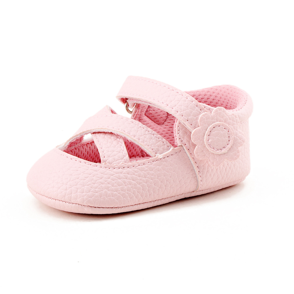 2018 Summer Flower Baby Shoes Baby First Walkers Princess Shoes Baby Girl Toddler Shoes 0-1 Years pure Pink Prewalkers
