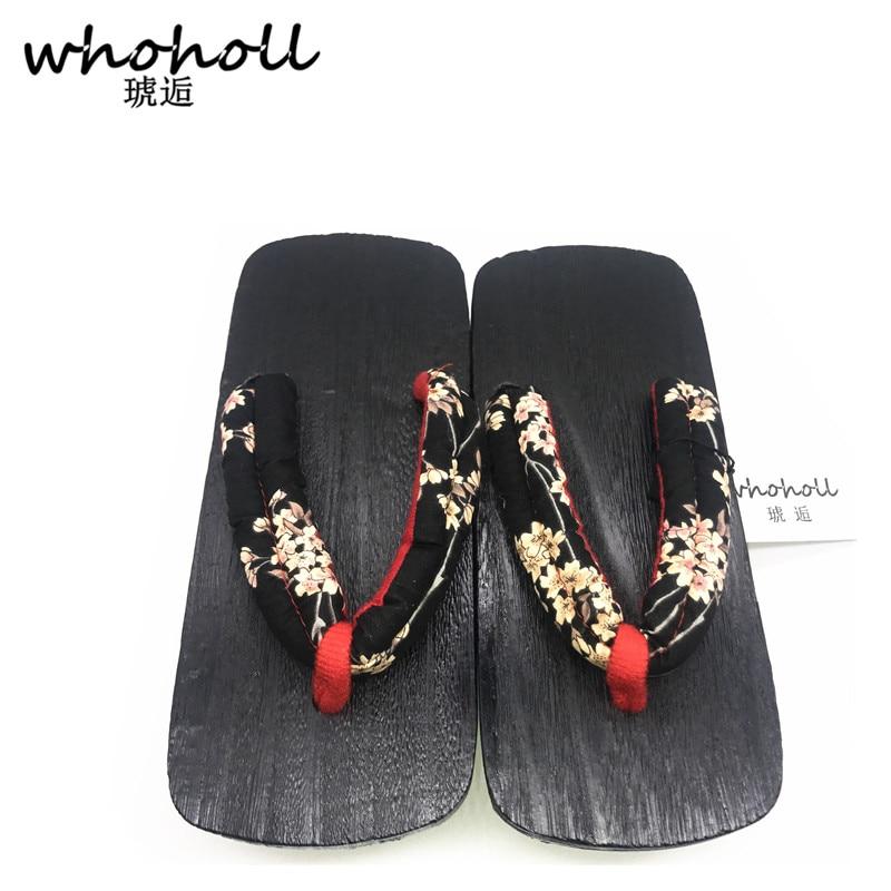 Women sandals 2017 summer Japanese geta black toe quality Paulownia wood female flip flops double high heel clogs GETA 115 in Low Heels from Shoes