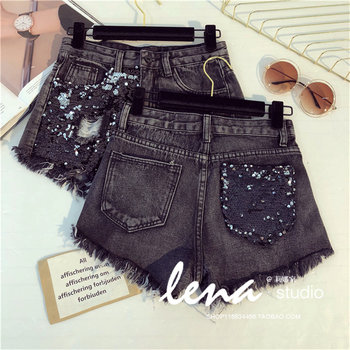 plus size 5XL Summer New Arrival Women High Waist Solid Color Denim Hole Sequined Spliced Casual loose Shorts Jeans 4