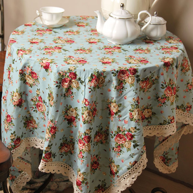 Linen Table Cloth Woven Floral Rose Pastoral Home Party