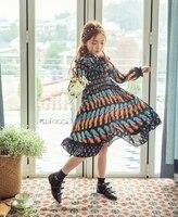 2017 Spring Children's Long Sleeve O Neck Vintage Floral Print Girls Retro Dress vestidos infantis