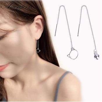 Anenjary, pendientes de moda novedosa asimétricos de Color plata para mujeres, chicas, pendientes con borla de campana de gato, pendientes de cadena para la oreja, S-E502