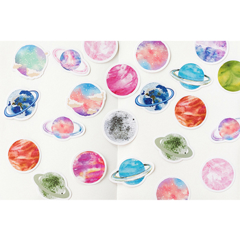 45pcs/box Cute No. 32 Planet Diary mini paper sticker kawaii DIY Decoration Stickers Seal stickers 46pcs box cute small dog kawaii mini paper stickers diary decoration diy scrapbooking label seal hand account sticker stationery