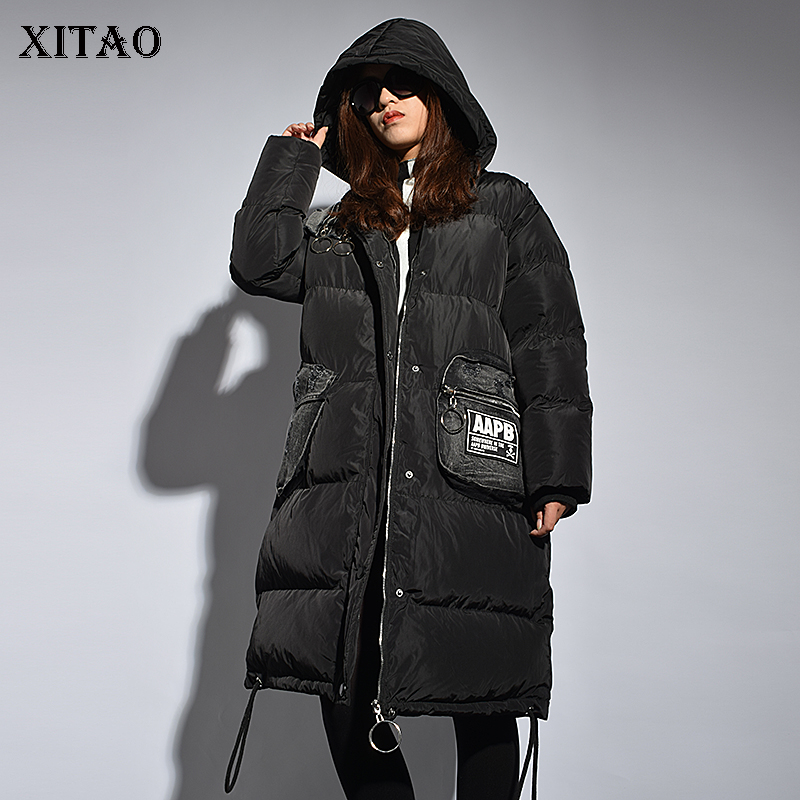 [XITAO] 2018 Winter Korea Fashion New Arrival Women Patchwork Loose Hooded Collar Full Sleeve Thick Long Pocket   Parka   LYH1392