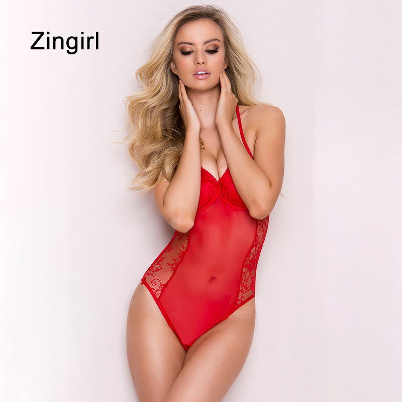 Zingirl Deep V-neck Red Sexy Bodysuits Women Lace Patchwork Party Jumpsuits Mesh Print Skinny Club Pull Playsuits Bodysuits