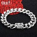 Beier 925 prata esterlina pulseira top quality homem biker pulseira cadeia mão do punk crânio sctyl0048
