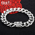 Beier 925 sterling silver bracelet top quality biker man bracelet  punk skull hand chain SCTYL0048
