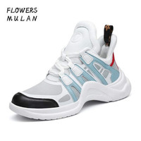 2018 New Lace Up Mesh Trainers Woman Leather Casual Shoes Patchwork Platforms Runway Shoes Archlight Sneakers No slip Hoof Heels