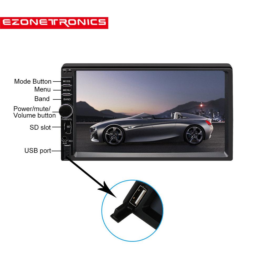 2DIN Car Radio Player Car Stereo AM FM 7inch Touch Screen HD MP3 MP4 Audio Bluetooth With USB SD Support Rear Camera View 7021 clear stock 6 95 hd 2din capacitive touch screen car dvd player stereo radio audio bluetooth usb sd fm am cd dvd mp3 mp4